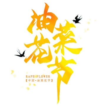 黄色油菜花节字体图片免抠素材