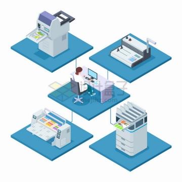 2.5D风格打印店中的职员操作电脑连接各种打印机png图片免抠矢量素材