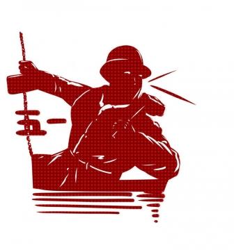 红色剪影风格五一劳动节劳动人民工人图片免抠素材