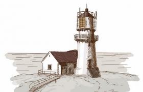 彩绘素描风格海边的灯塔风景图png图片免抠矢量素材