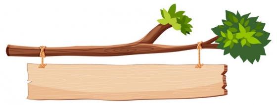 手绘风格树枝上挂着的木牌子免抠矢量图片素材