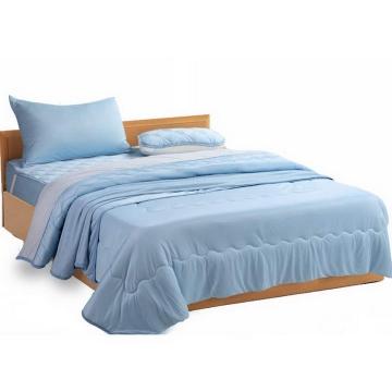 盖着蓝色被子的床和床垫效果png图片透明背景免抠素材