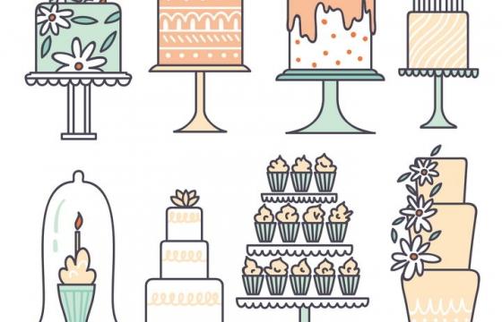 线条风格生日结婚蛋糕图片免抠素材