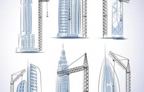 手绘风格正在建设中的城市大楼吊塔图片免抠矢量图素材