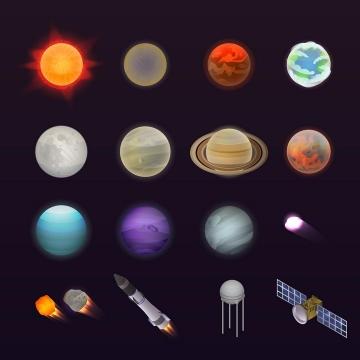 12款太阳系九大行星以及流星火箭卫星天文科普图片免抠素材
