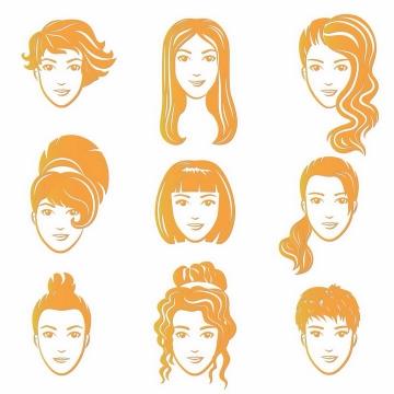 9款不同发型的橙色手绘美女头像png图片免抠矢量素材