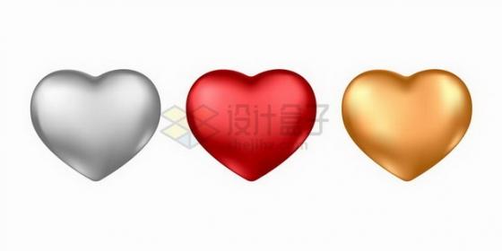 银灰色红色金色立体心形红心png图片免抠矢量素材