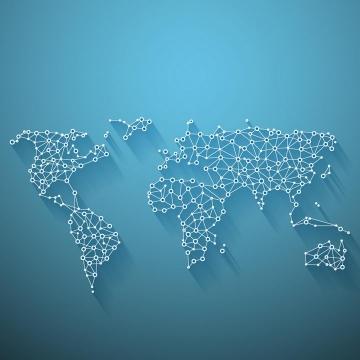 白色圆点和白线组成的世界地图图案图片免抠矢量素材