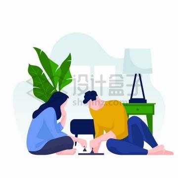 宅在家中坐地上下象棋的情侣扁平插画png图片免抠矢量素材