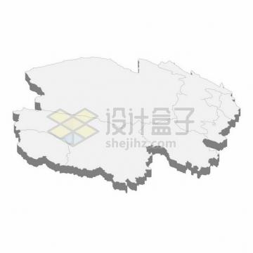 青海省地图3D立体阴影行政划分地图911995png矢量图片素材