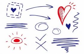 蓝色红色钢笔手绘心形和箭头图案png图片免抠矢量素材