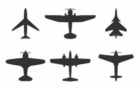 6款战斗机飞机俯视图剪影png图片免抠矢量素材