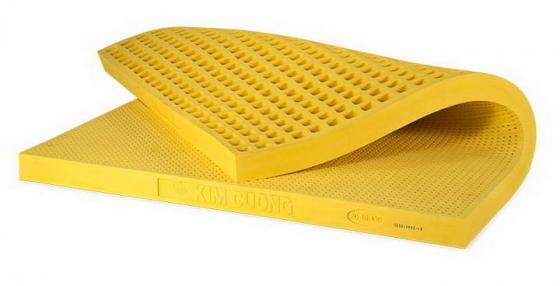 卷曲的黄色乳胶床垫png图片透明背景免抠素材
