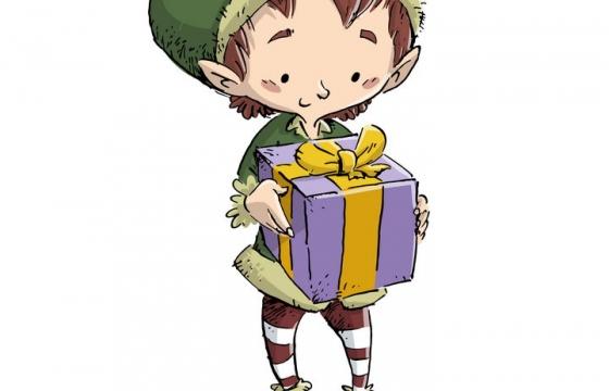 手绘插画风格拿着礼物的卡通小男孩图片免抠素材