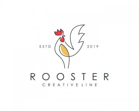 简约线条和色块组成的公鸡LOGO设计方案图片免抠矢量素材