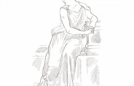 手绘素描风格坐着的古希腊古罗马人物像png图片免抠矢量素材