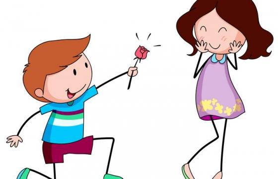 可爱风格献花的情侣男女朋友免抠矢量图片素材