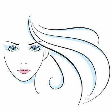 简约线条手绘美女和长发头发美容美发logo设计方案png图片免抠矢量素材