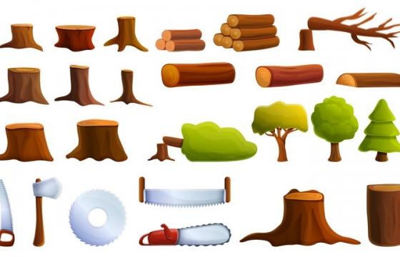各种各样的卡通树桩树木和斧头电锯等伐木工具免抠图片素材