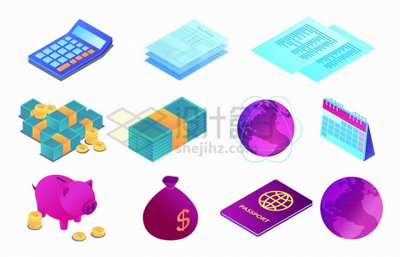 2.5D风格计算器报纸金钱地球仪日历小猪储蓄罐钱袋等png图片免抠矢量素材