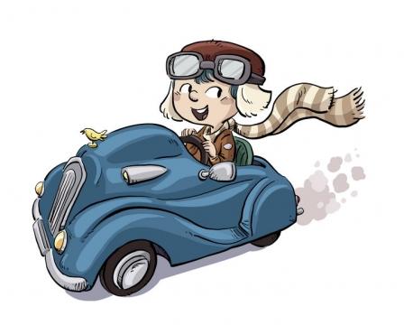 手绘插画风格开着敞篷汽车的卡通小男孩图片免抠素材