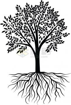 带树根的黑色大树插画png免抠图片素材