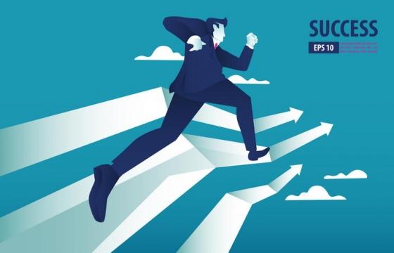 在增长曲线中奔跑的商务人士图片免抠矢量素材