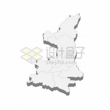 陕西省地图3D立体阴影行政划分地图531941png矢量图片素材
