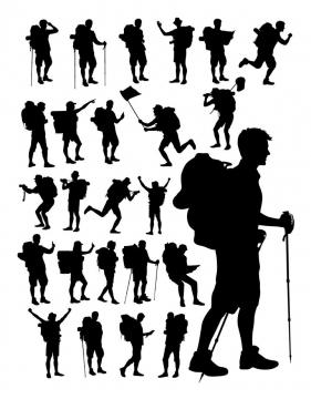 26款户外旅行登山爬山运动户外拓展运动人物剪影图片免抠矢量素材
