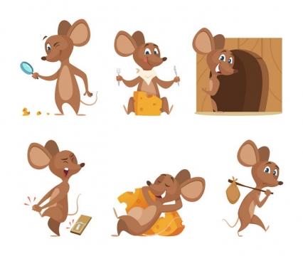 6款漫画风格卡通小老鼠图片免抠矢量图素材