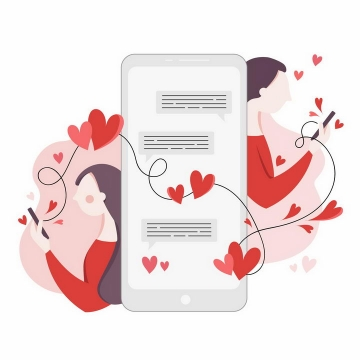 扁平插画风格通过手机正在聊天传递情谊的情人节情侣png图片免抠eps矢量素材