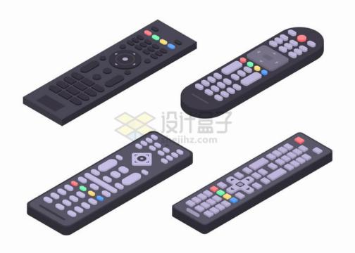 4款2.5D风格电视机遥控器png图片免抠矢量素材