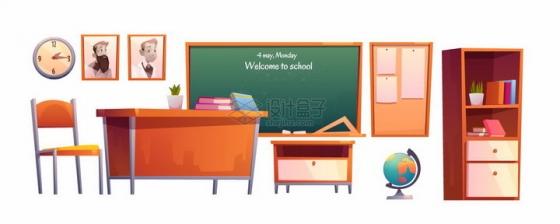课堂教室里的卡通黑板讲台课桌柜子地球仪等png图片素材