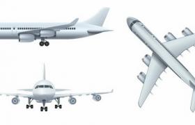 银色大型客机飞机三视图png图片免抠矢量素材