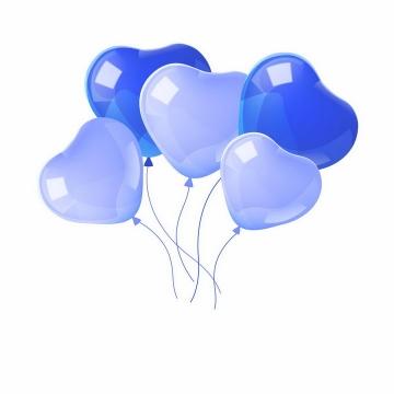 蓝色心形气球结婚婚礼气球png图片免抠矢量素材
