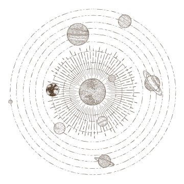 手绘简笔画插画风格太阳系九大行星结构图天文科普图片免抠素材