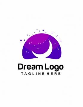 紫色半圆背景和月亮象征梦想logo设计方案png图片免抠矢量素材