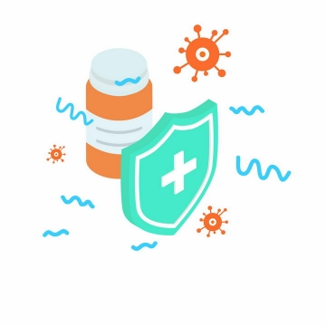 2.5D风格绿色防护盾牌药瓶和各种病毒医疗医学png图片免抠矢量素材