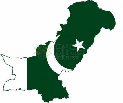 巴基斯坦地图上的国旗图案png免抠图片素材