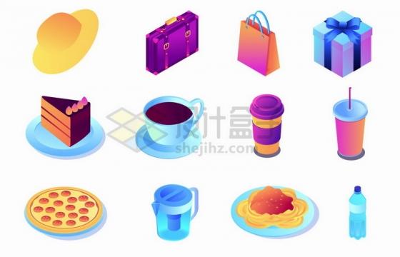 2.5D风格太阳帽行李箱购物袋礼物盒蛋糕咖啡披萨面条矿泉水等png图片免抠矢量素材