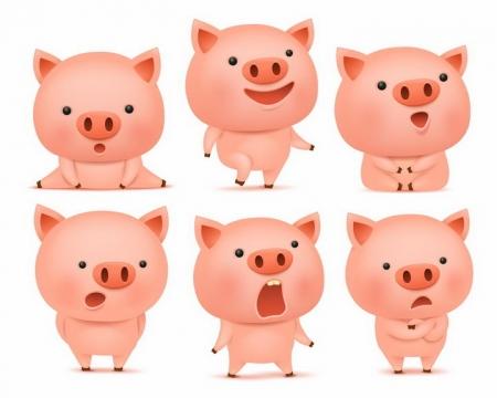 6款做出各种动作的可爱卡通小猪png图片免抠矢量素材