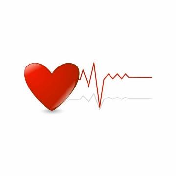 红心和红色心电图心跳图情人节心动png图片免抠eps矢量素材