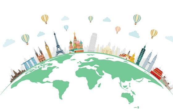 绿色地球上的世界知名旅游景点图片免抠矢量素材