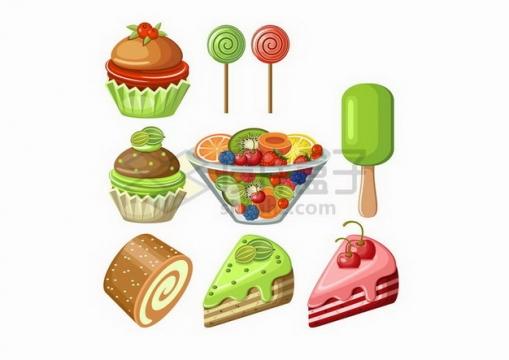 绿色抹茶奶油蛋糕和水果拼盘等甜点美味美食png图片免抠矢量素材