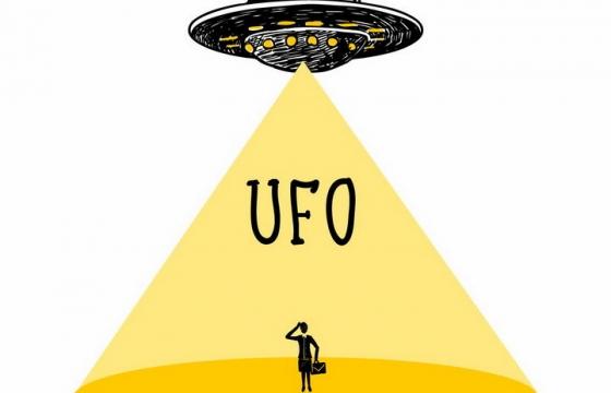 手绘风格外星人飞碟UFO png图片免抠矢量素材