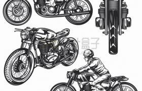 4个不同的哈雷摩托车复古摩托车手绘漫画插画png图片素材