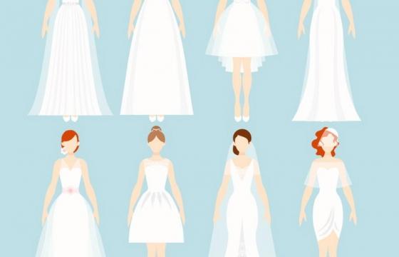 8款身穿白色婚纱的扁平化新娘结婚人物造型png图片免抠矢量素材