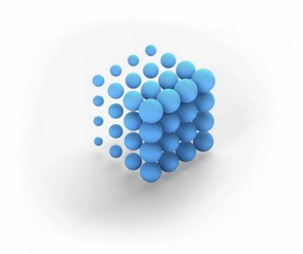 蓝色立体圆球组成的立方块图片免抠素材
