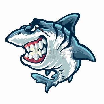 卡通鲨鱼咬牙切齿png图片免抠矢量素材