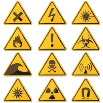 小心带电小心火烛小心有毒等三角形提示牌警告标志警示标牌图片免抠矢量素材